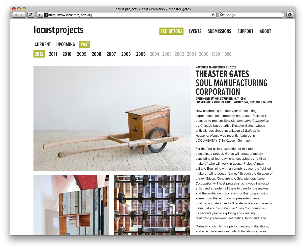 Locust Projects Website Interior