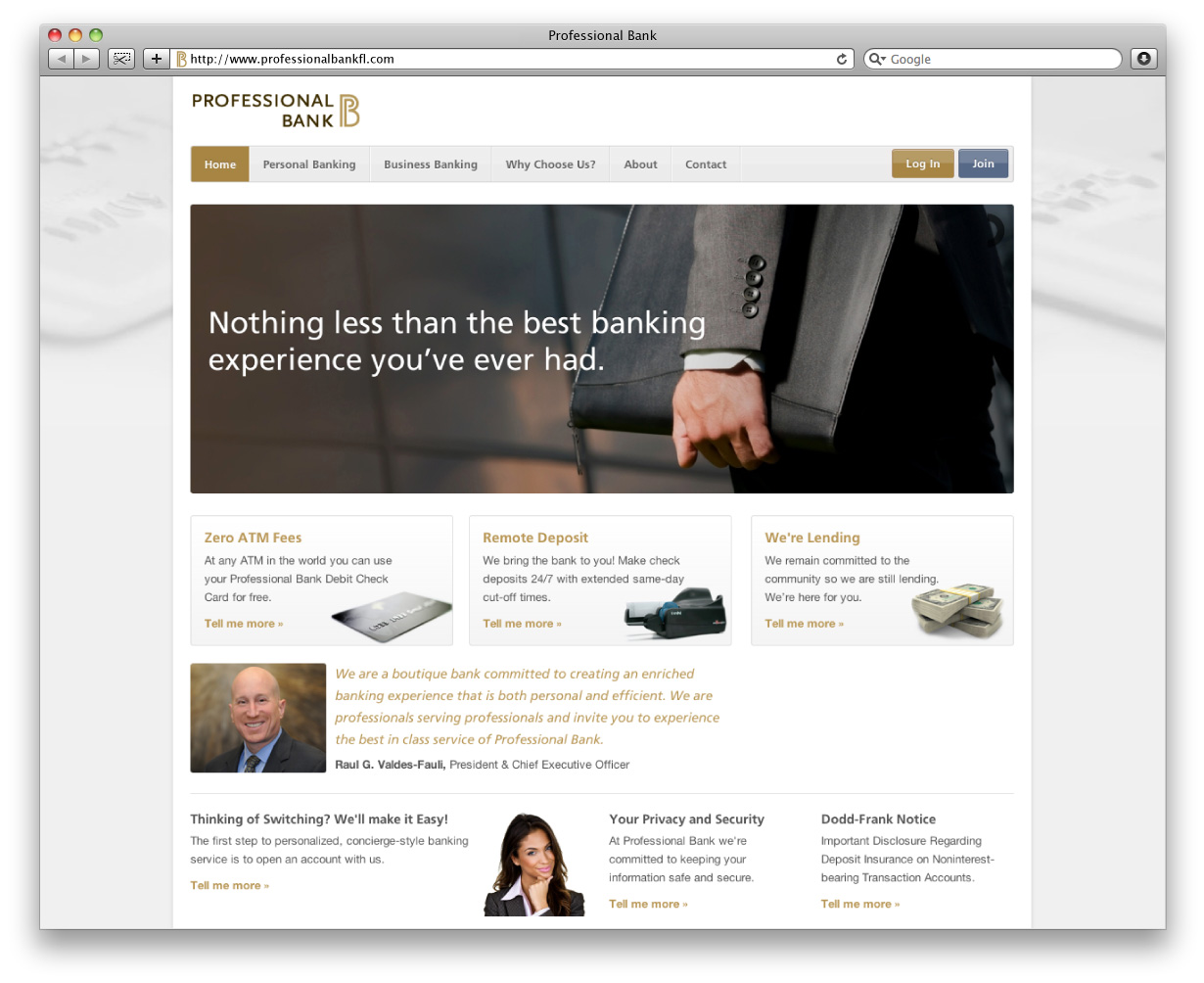 Professional Bank Home Page