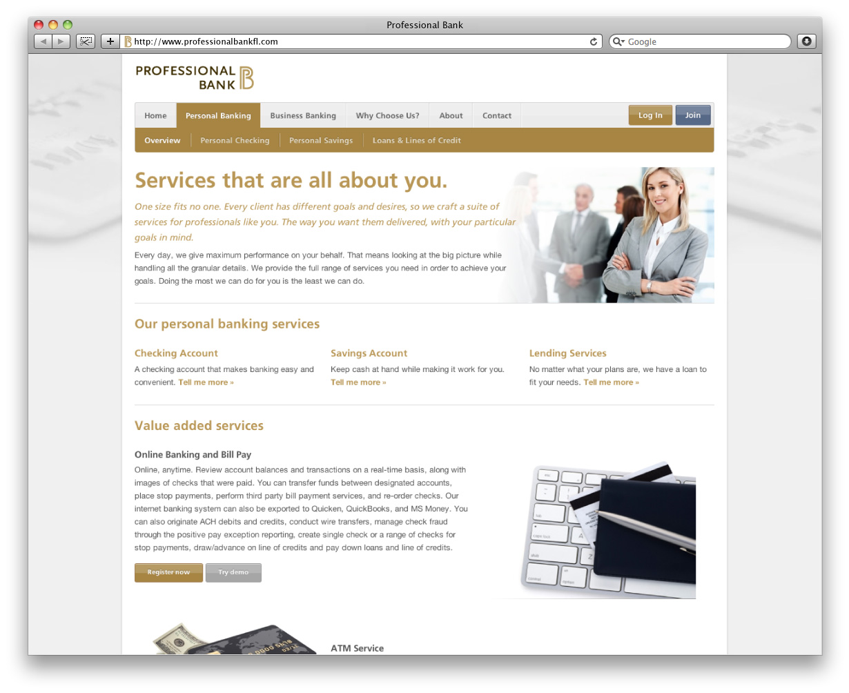Professional Bank Website Interior